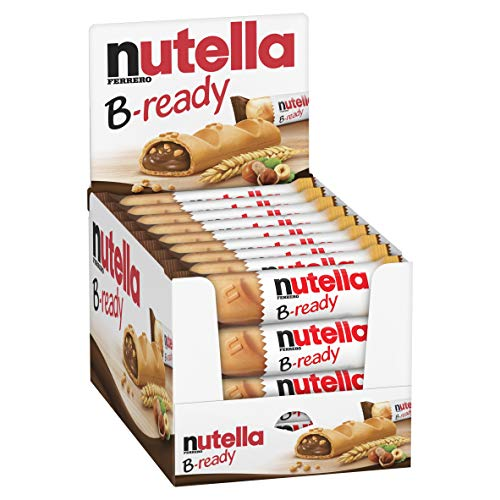 Nutella B-Ready Biscuits, Crispy Wafer Shell Filled with Hazelnut Cocoa Spread, 22g (Pack of 36)