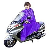 男女兼用 バイク 自転車 スクーター 用 レインコート ポンチョ 防水 フリーサイズ 雨具 雨合羽 カッパ 屋外作業 アウトドア (パープル)