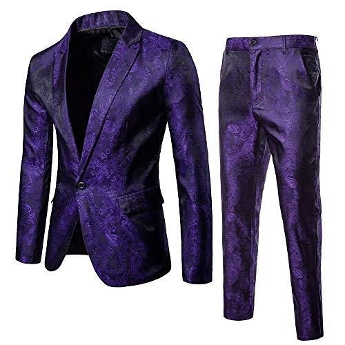 BaZhaHei Uomo Top,2Pcs Set Giacca da Uomo in Blazer Casual o Formale Blazer Moda Uomo Slim Abiti da Uomo d\'Affari Abbigliamento Casual Groomsman Due Pezzi Vestito Giacca Pantaloni Set