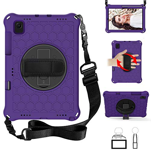 QYiD Kids Case for Galaxy Tab S6 10.5' 2019 SM-T860/SM-T865, Light Weight Non-Toxic EVA Shockproof Case Rotatable Strap, Pencil Holder & Shoulder Belt for Galaxy Tab S6 10.5 inch 2019, Purple/Black