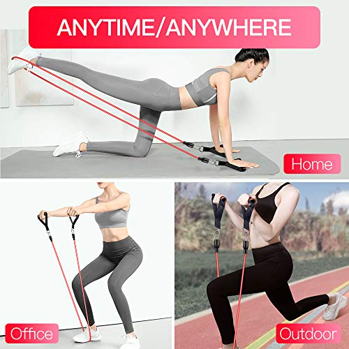 【2020 Newest】 Resistance Bands Set Home Fitness 5 Stackable Exercise Bands Door Anchor 2 Handles 2 Legs Ankle Straps Waterproof Carry Bag for Resistance Training Physi Cal Therapy 3