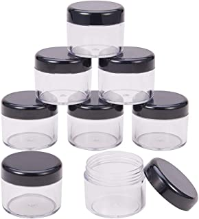 BENECREAT 24 Pack 20ml/20g Empty Cosmetic Jars Clear Plastic Jars Lip Balm, Creams, Cosmetic, Eyeshadow, Samples Other Beauty Products - Black Lids