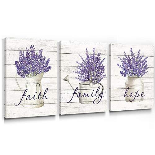 SUMGAR Cuadro en lienzo de lavanda morado Lavandula de flores violetas con impresión rústica floral paisaje botánico de primavera para baño dormitorio sala de estar 30 x 40 cm juego de 3