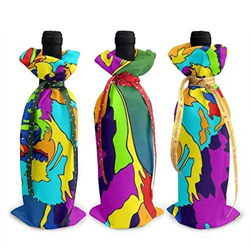 LemonSisterShop Color Sled Dog Christmas 3pcs Wine Bottle Cover Sets Decorations Bag