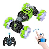 Powerextra RC Stunt Car, 4WD 2.4GHz Remote Control Car, Watch Gesture Sensor Car, Double Sided Rotating Off Road Vehicle 360° Flips with 2 Batteries, Deformable Electric Car Kids Toy Cars - Green
