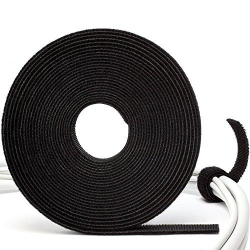 Purovi Rotolo FERMACAVI nero con adesivo a strappo | RACCOGLI CAVI di alta qualità per raggruppare cavi elettrici | Lungo 5 m e largo 10 mm | Misura adattabile