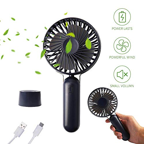 Handventilator USB, Redmoo Handventilator Batteriebetrieben Tragbarer Mini Ventilator Leise Elektrischer mit Standventilator 3 Geschwindigkeiten USB Lüfter für Büro, Zuhause und im Freien-Dunkelblau