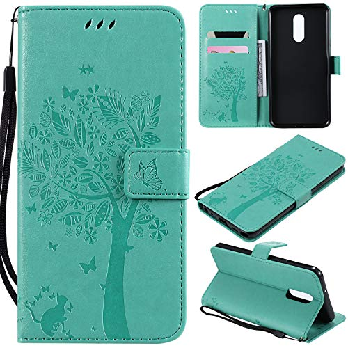 Cmeka 3D Cat Tree Flower Wallet Case for LG Stylo 5 Slim Flip Leather Protective Case,Magnetic Closure,Credit Card Slots Holder,Kickstand Function Mint Green