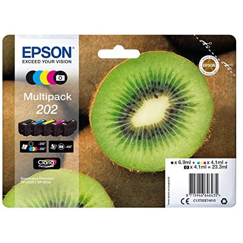 Epson EP64643 Original 202 Tinte Kiwi (XP-6000 XP-6005XP-6100XP-6105,AmazonDashReplenishment-fähig)Multipack5-farbig