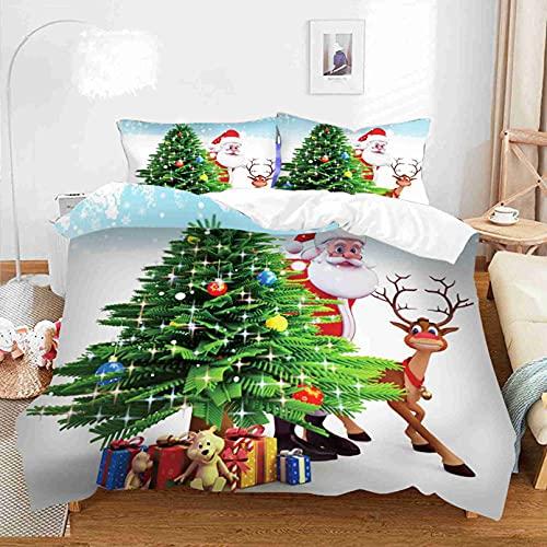 LXTOPN - Juego de ropa de cama para niños, diseño de árbol de Navidad, con funda de edredón de microfibra y 1/2 funda de almohada con cremallera