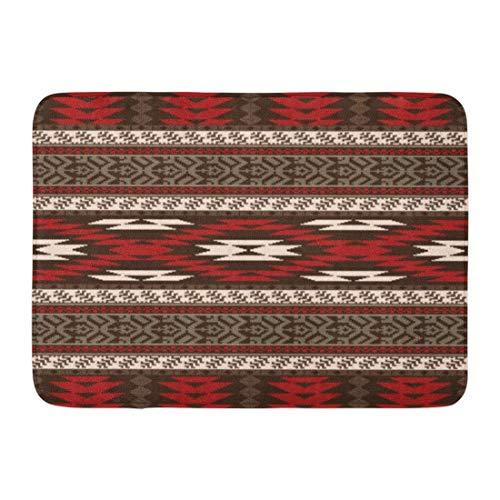 Kanaite Alfombrillas Alfombras de baño Alfombrilla para Puerta Exterior/Interior Patrón Rojo Étnico Indígena nativoamericano Indio Azteca Decoración de baño Alfombra Alfombra de baño