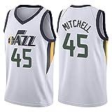 Maillot de Basket Donovan Mitchell # 45 Gilet de Sport, Utah Jazz Gilet de Sport collège compétition vêtements entraînement Costume Sweat-White-XL