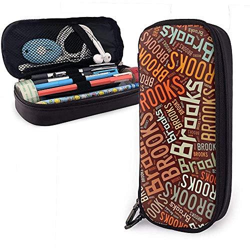 Brooks - Estuche de lápices de cuero de gran capacidad de apellido americano, lápiz, lápiz, papelería, organizador, marcador universitario, bolígrafo, bolsa de papelería para estudiantes