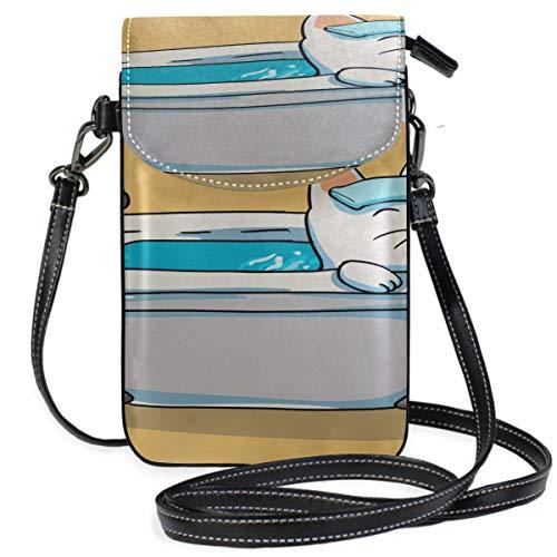 Pequeño bolso cruzado del teléfono celular del baño del gato que se lava para las mujeres, mini…
