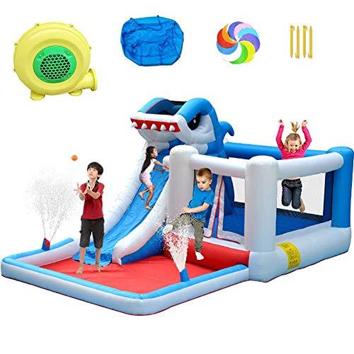 BBZZ Piscine pour enfants et adultes avec toboggan gonflable grand requin sautant château Splash Piscine pour samuser en été