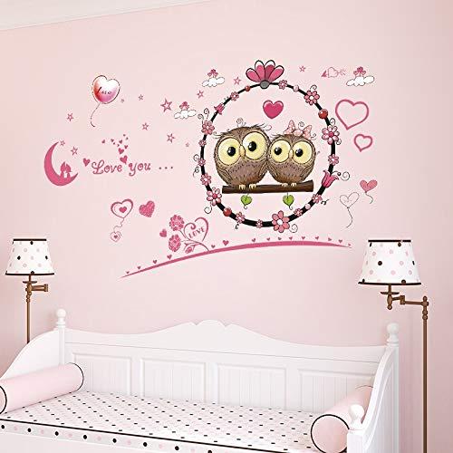 Pareja etiqueta de la pared de dibujos animados búho rosado del corazón, mural de la etiqueta for el sitio de niños de la sala de estar dormitorio boda de decoración de interior bricolaje Vinilo 113x6