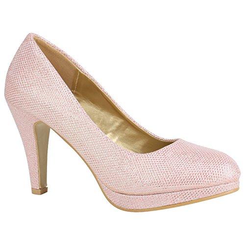 Damen Schuhe Pumps Plateau Pumps High Heels Lack Stiletto Elegante 156030 Rosa Autol 39 Flandell
