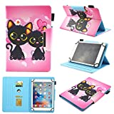 Universal Case for 9.5-10.5 inch Tablet, Chgdss Premium PU Leather Cute Cartoon Cover, Multi-Angle Viewing Folio Stand Cover/Card Slots, for All 9.5-10.5 inch iPad Android Windows Tablet, Black cat