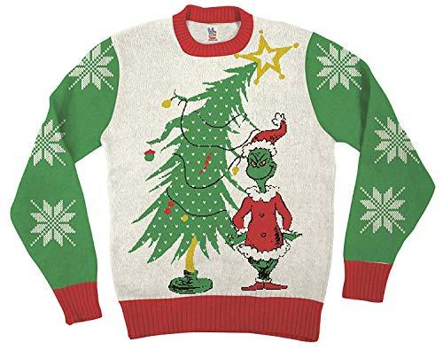 Dr. Seuss Grinch As Santa Next to Tree Off-White Ugly Christmas Sweater (Adult Medium)