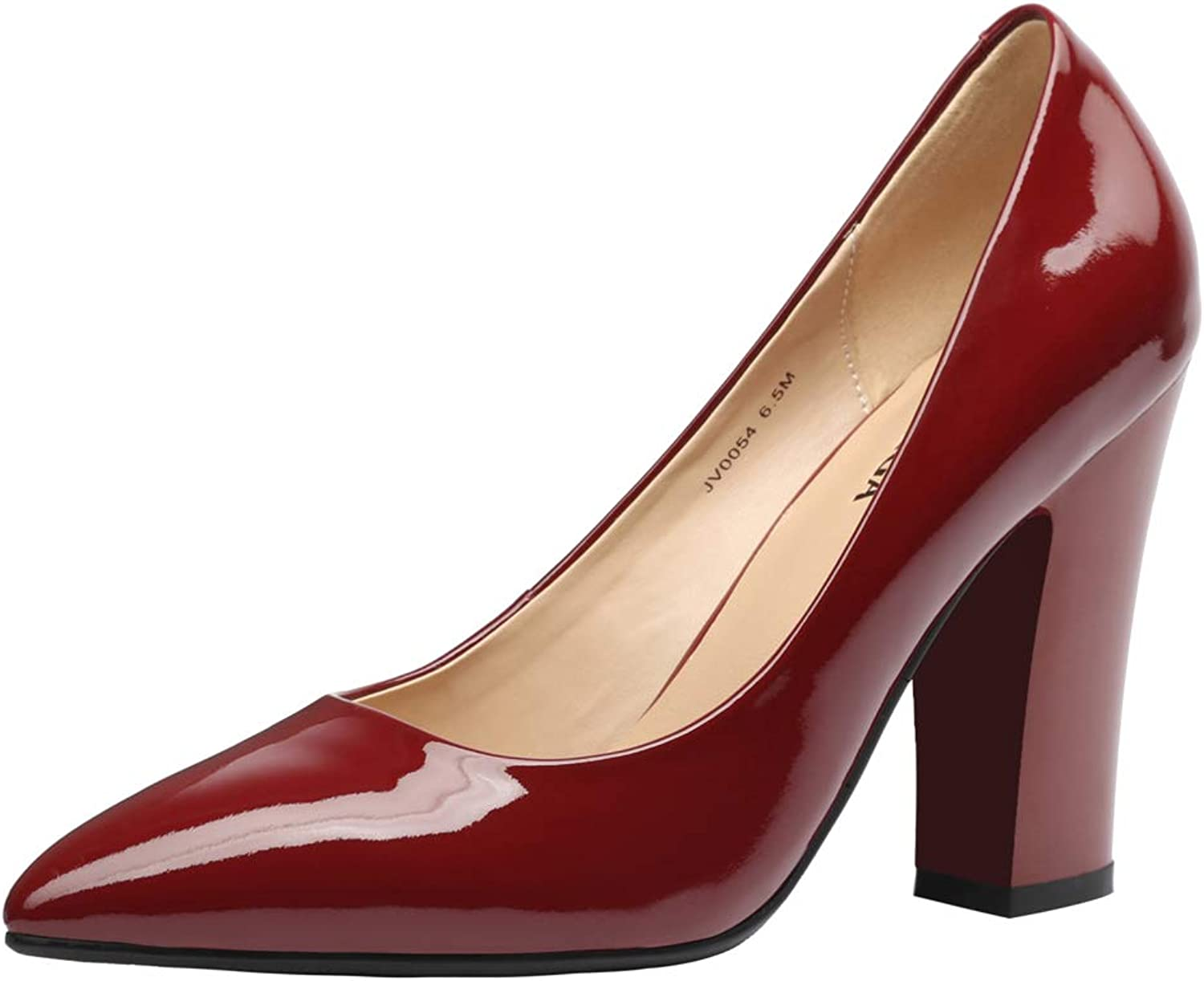 JARO VEGA Women's Chunky Heel Closed Pointed Toe Patent Leather Dress Pumps shoes