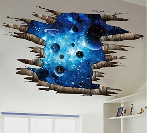 COVPAW US Stock Wall Stickers Decor Ceiling Sticker 3D Universe Planet Galaxy Lobby Lounge Living Room Bedroom Deco Stair
