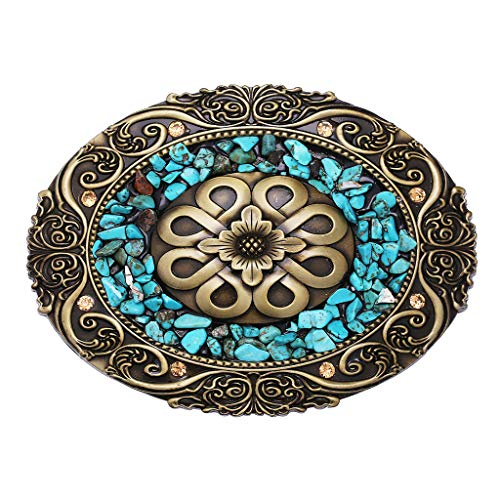 Handmade Belt Buckle Vintage Indian Style Celtic Turquoise Gravel Belt Buckle for Women Men