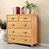 Wooden Storage Cabinet,Chest of 5 Drawers Dresser Organizer Chest with Drawer,Big Cupboard for Living Room,Study,Bedroom,Oak,Home Dresser (5 Drawers-2)