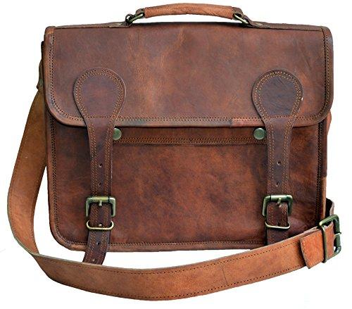 """13 """" Vera Alta qualità fatto a mano Borsa in cuoio a tracolla Cartella Notebook Messenger Bag in pelle Stile vintage Per uomini e donne"""