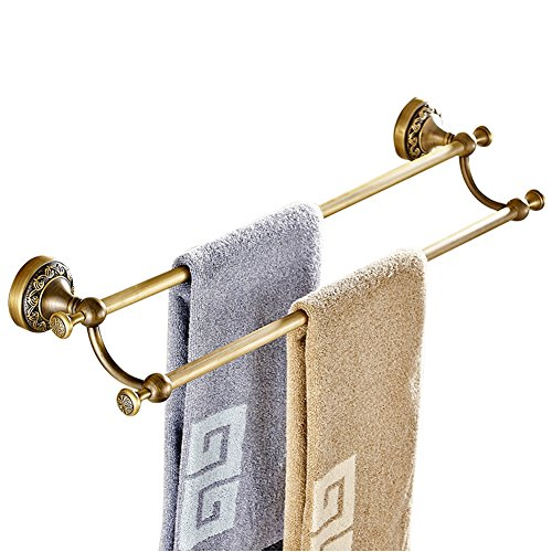 CASEWIND Handtuchhalter Vintage, Handtuchstange 2 Stange Messing, Antik Doppel Handtuchregal Badezimmer Wandmontage mit Bohren Landhausstil Nostalgie