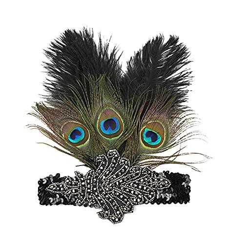 MGW Diadema de los años 20 con Plumas de Pavo Real para Mujer, Estilo años 20, Gran Gatsby Diadema, 2 Piezas Fiestas tocados Nupciales Deco de Arte