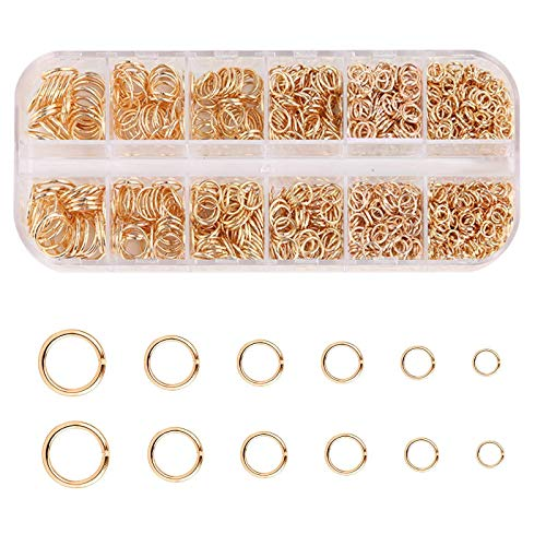 YuuHeeER 4 10mm Metal Abierto Salto Anillos Tamaño Mezclado Anillo Redondo Conectores Para Diy Joyería 1300pcs Oro