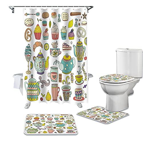 ZHEXI Teekanne Kuchen Obst Teetasse Blumen Duschvorhang Wasserdicht Badezimmer Vorhang WC Abdeckung Badewanne Deko Teppich Set