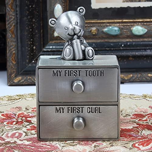 Caja de Metal Art Craft Decoración del hogar Recuerdo de bebé Cofre Pirata Oso Elefante Diseño Dientes Almacenamiento de Cabello Caja de Recuerdo para Mujeres