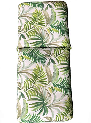 Tienda Eurasia - Cojín Acolchado para Tumbona, Hamaca de terraza. Estampado Tropical Green. Medidas:120x50x10cm - 180x50x10cm. Contiene una Goma elástica y una Funda para Mayor fijación. (180x50x10cm)