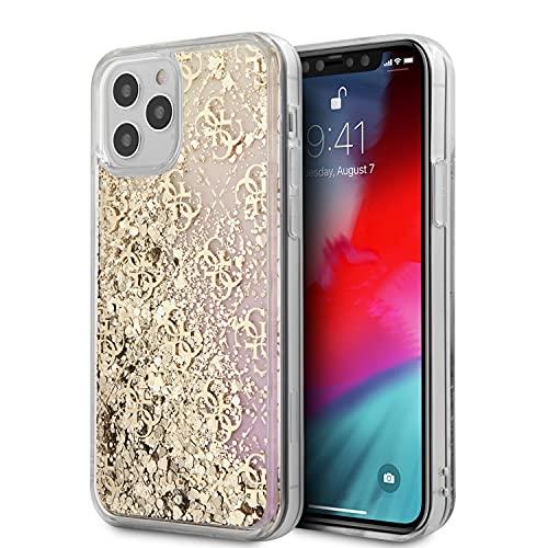 Guess GUHCP12LLG4GGPIGO Gradient Liquid Glitter 4G - Carcasa para iPhone 12 Pro MAX 6,7', Color Dorado