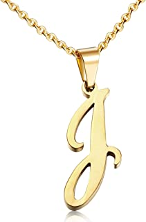 Womens Stainless Steel Alphabet Initial Letters Pendant Necklace From A-Z