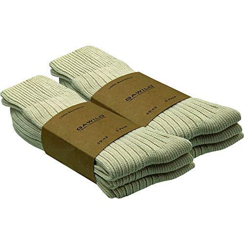 GAWILO 6 Paar Natur Baumwoll Socken – Damen und Herren – 100prozent reine, naturbelassene Baumwolle – ohne Naht – kochfest – etwas gröber gestrickt – für den Outdoor-Bereich geeignet (39-42, natur)