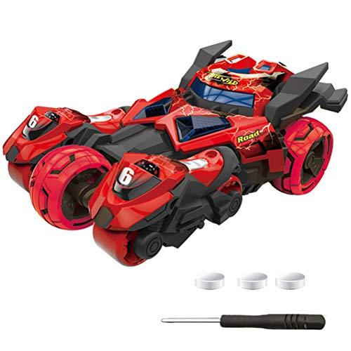3 in 1 Auto-Spielzeug, Creamon 3 in 1 LED-Licht und Geräusch ziehen Auto-Spielzeug mit 2 Motorrad-Spielzeug rot zurück
