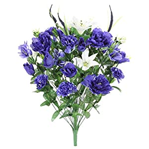 Admired By Nature ABN1B001-BL 40 Stems Artificial Full Blooming Lily, Rose Bud, Carnation and Mum with Greenery Mixed Flower Bush, Blue
