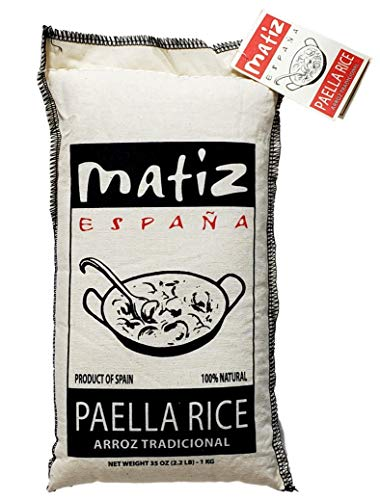 Matiz Valenciano Paella Rice from Spain (2.2 lbs.) Traditional Spanish Medium-Grain | Risotto, Arrow Negro, Seafood Dishes | Natural Flavor | Soy and Gluten Free