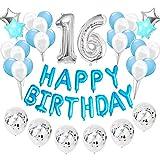 Feelairy 16 año Cumpleaños Globos Decoración Kit Azul, Happy Birthday Banner Globo Carta, Globos de Papel Aluminio Gigante Número 16 y Estrella Globos, Cumpleaños 16 para Adolescentes Niños