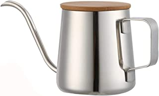 Coffee Pot Long Narrow Spout Coffee Pots Stainless Steel Hand Pot with Wooden Cover Gift 350ml