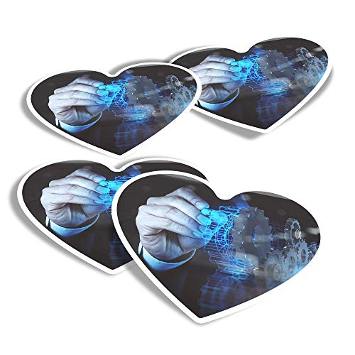 Vinyl Heart Stickers (Set of 4) - Computer Design Technology Office Fun Decals for Laptops,Tablets,Luggage,Scrap Booking,Fridges #16151