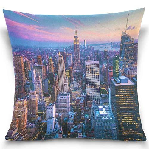 Moily Fayshow New York City Manhattan Sunset View Fodere per Cuscini Federa Quadrata Decorativa Fodera per Cuscino 40X40 Cm