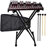 Wooden 25-note Xylophone with Metal Stand, 4 Plastic Mallets, Carrying Bag
