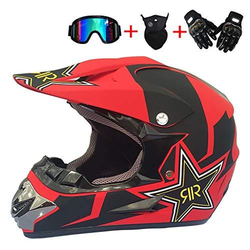 CHAOYUE Cascos de Motocross,Dot Homologado Casco de Descenso Casco de Motocicleta,con Gafas Máscara Guantes,BMX MTB ATV Bicicleta Carrera Integral Casco