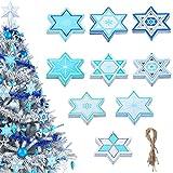 36 Pieces Hanukkah Ornaments Star of David Ornaments Set Chanukah Tree Ornaments Hanukkah Christmas Tree Decor Menorah Jewish Chanukah Bush Christmas Wood Cutouts for Holiday Hanging Decorations
