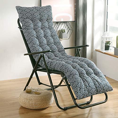 jHuanic Coussin de rechange épais antidérapant pour chaise longue de jardin ou terrasse - Pour les vacances en plein air (122 x 48 cm, vague)