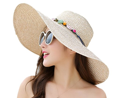 Gespout Chapeau de Paille Pliable élégant Femme Chapeau à Larges Bords Classique avec Abat-Jour Extérieur Loisirs Chapeau de Soleil Protection UV Beach Voyage Chapeau Occasionnel (Kaki)