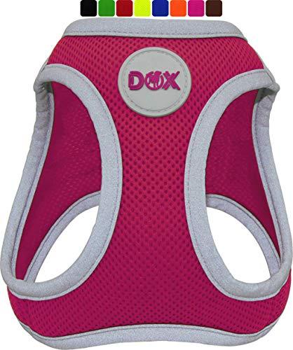 DDOXX Brustgeschirr Air Mesh, Step-In, reflektierend | viele Farben | für kleine, mittlere & mittelgroße Hunde | Hunde-Geschirr Hund Katze Welpe | Katzen-Geschirr Welpen-Geschirr | Pink, S